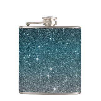 Pretty Faux Glitter Gradient in Black, Blue, White Flasks