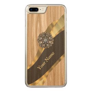 pretty faux oak wood carved iPhone 8 plus/7 plus case