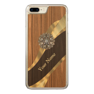pretty faux pine wood carved iPhone 8 plus/7 plus case