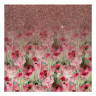 Pretty Faux Rose Gold Glitter on Watercolor Floral Poster