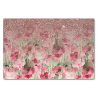 Pretty Faux Rose Gold Glitter on Watercolor Floral Tissue Paper