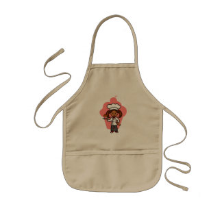 Pretty Female Master Chef Cartoon Image Kids Apron