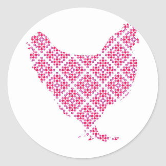 Pretty feminine chicken classic round sticker