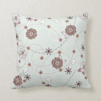 Pretty Feminine Floral Pattern in Green and Brown Cushion