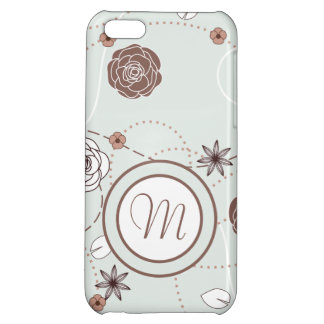 Pretty Feminine Floral Pattern in Green and Brown iPhone 5C Case
