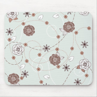 Pretty Feminine Floral Pattern in Green and Brown Mouse Pad