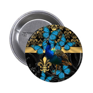 Pretty feminine peacock design 6 cm round badge