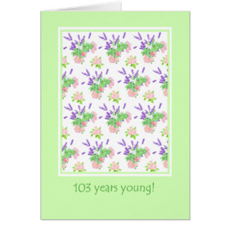 Pretty Floral 103rd Birthday Greeting Card
