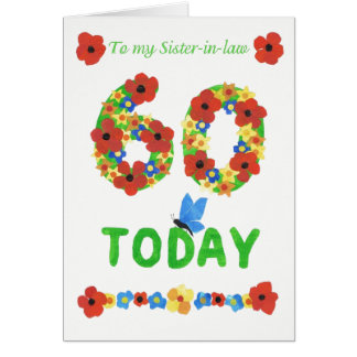 Pretty Floral 60th Birthday, for Sister-in-Law Card