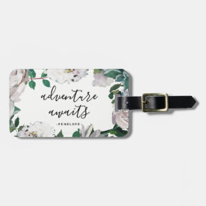 Pretty Floral Adventure Awaits Luggage Tag
