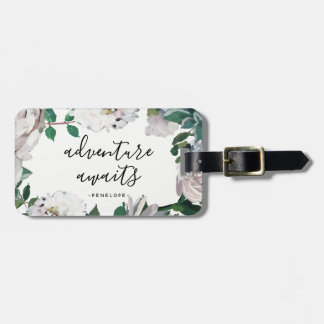 Pretty Floral Adventure Awaits Luggage Tag