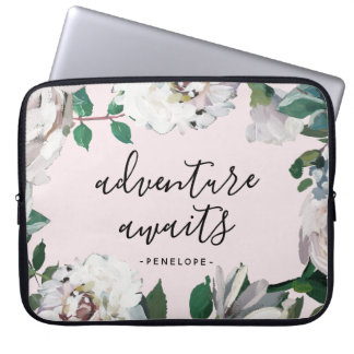 Pretty Floral Adventure Awaits with Name Blush Laptop Sleeve