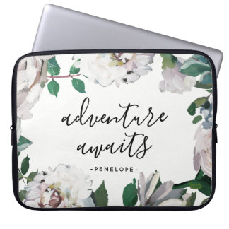 Pretty Floral Adventure Awaits with Name Laptop Sleeve