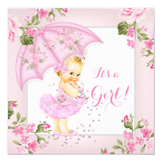 Pretty Floral Baby Shower Pink Girl Blonde 13 Cm X 13 Cm Square Invitation Card