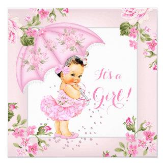Pretty Floral Baby Shower Pink Girl Brunette 13 Cm X 13 Cm Square Invitation Card