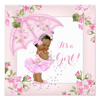 Pretty Floral Baby Shower Pink Girl Ethnic 13 Cm X 13 Cm Square Invitation Card