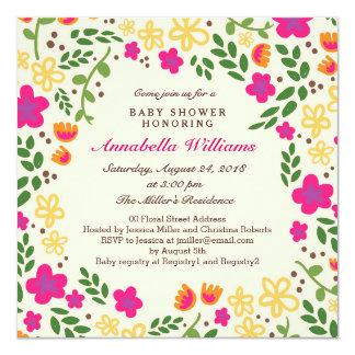 Pretty Floral Baby Shower Square Invitation