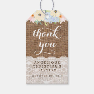 Pretty floral Baptism Favour Tags for Girl or