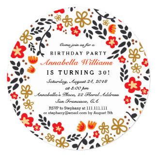 Pretty Floral Birthday Party Round Invitation