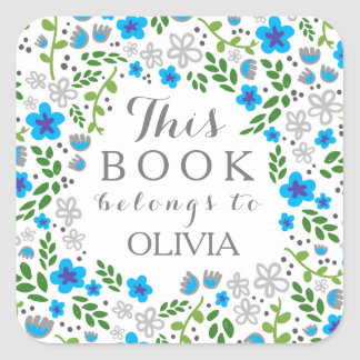 Pretty Floral Blue Grey This Book Belongs Stickers