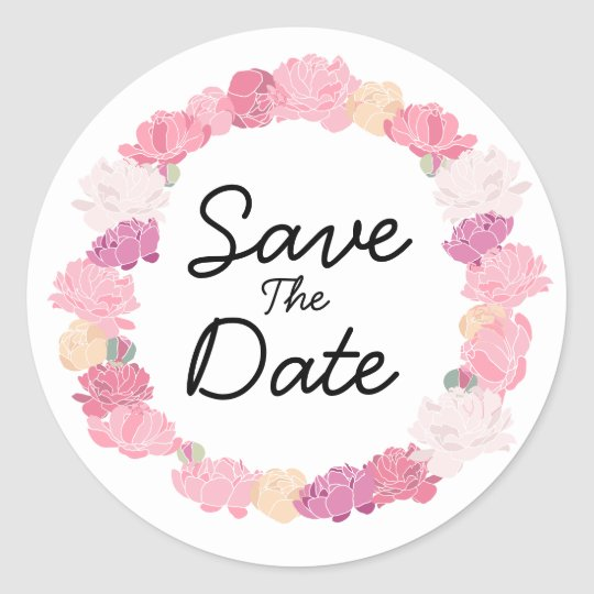Pretty floral boho Save the Date stickers