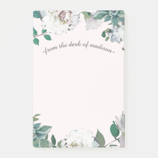 Pretty Floral Botanical and Name on Soft Blush Post-it Notes