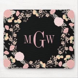 Pretty Floral Botanical Monogram Mousepad