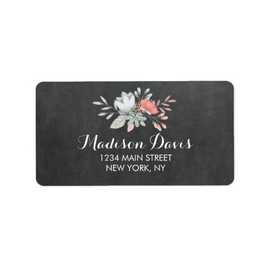 Pretty Floral Chalkboard Wedding Address Labels