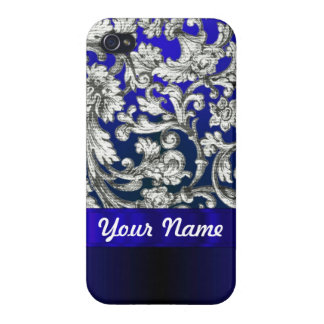 Pretty floral damask on blue iPhone 4/4S case