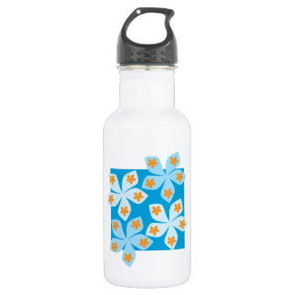 Pretty floral design, blue, orange and white. 532 ml water bottle