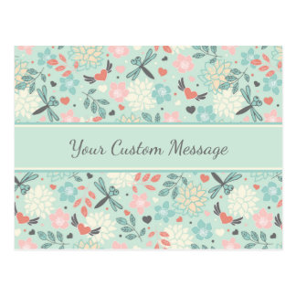 Pretty floral flying hearts and dragonflies postcard
