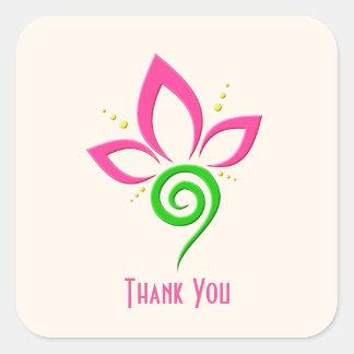 Pretty Floral Icon Design Thank You Square Sticker