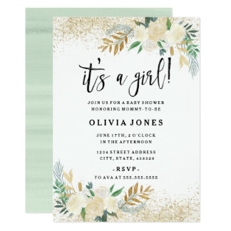 Pretty Floral Its a Girl Baby Shower Invitation