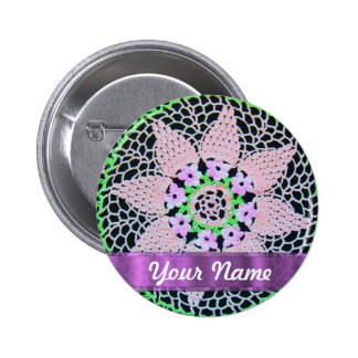 pretty floral lace 6 cm round badge