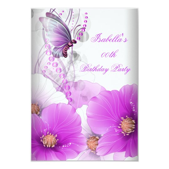 Pretty Floral Lilac Butterfly Birthday Party Card