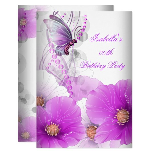 Pretty Floral Lilac Butterfly Birthday Party SML Card