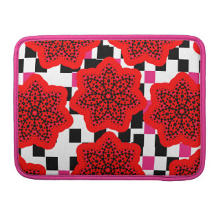 Pretty Floral Mix Pink Red Black and White Sleeve For MacBook Pro