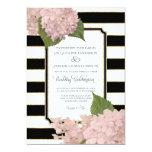 Pretty Floral Modern Elegant Black White Stripe 13 Cm X 18 Cm Invitation Card