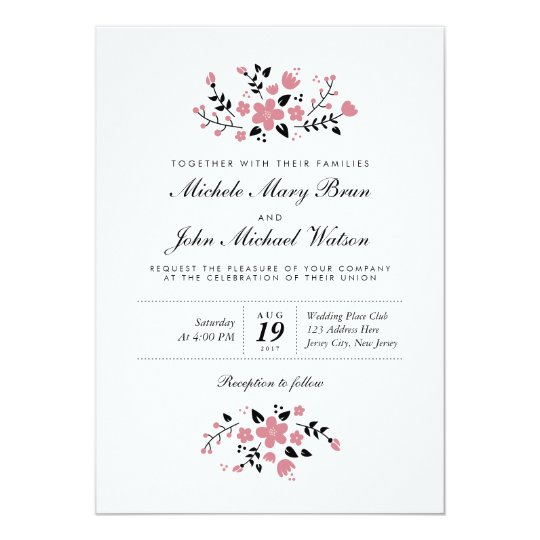 Pretty Floral Modern Stylish Wedding Invitation