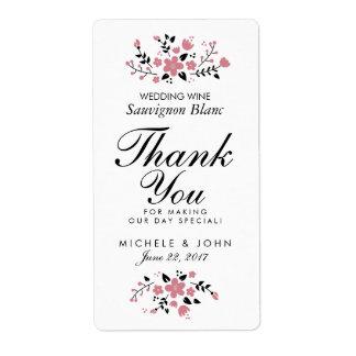 Pretty Floral Modern Wedding Wine Custom Label