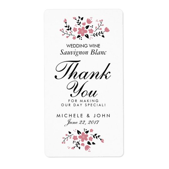 Pretty Floral Modern Wedding Wine Custom Label Shipping