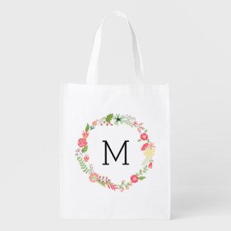 Pretty Floral Monogram Reusable Grocery Bag