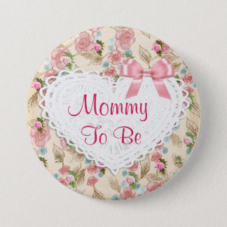 Pretty Floral Mummy to be Baby Shower button