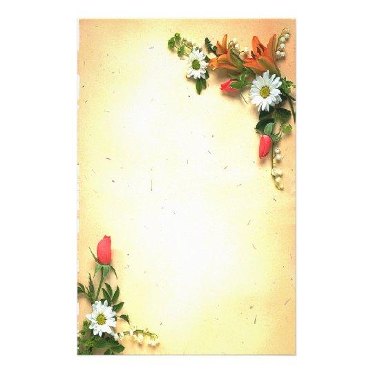 Pretty Floral Parchment Design Stationery