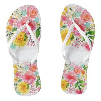 Pretty Floral Pattern Flip Flops
