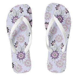 pretty floral pattern in boho style flip flops