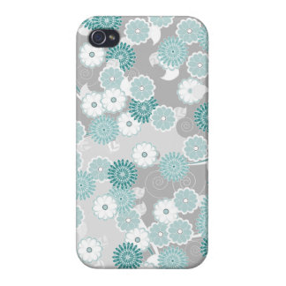 Pretty Floral Pattern in Teal, Aqua and Grey Cases For iPhone 4