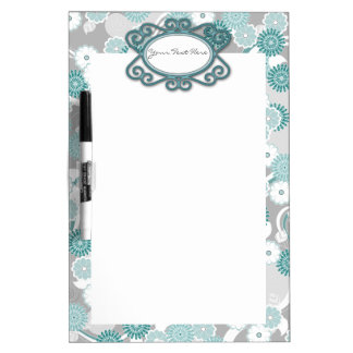 Pretty Floral Pattern in Teal, Aqua and Grey Dry Erase Board