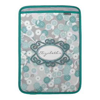 Pretty Floral Pattern in Teal, Aqua and Grey MacBook Sleeve