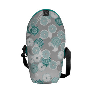 Pretty Floral Pattern in Teal, Aqua and Grey Messenger Bag